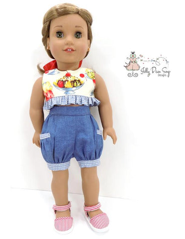 "Bloomer Shorts and Ruffled Crop Top 18"" Doll Clothes Pattern"