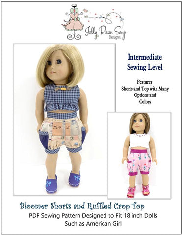 "Jelly Bean Soup Designs 18 Inch Modern Bloomer Shorts and Ruffled Crop Top 18"" Doll Clothes Pattern Pixie Faire"