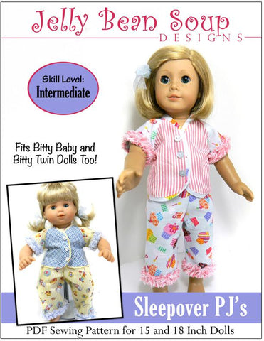 "Jelly Bean Soup Designs 18 Inch Modern Sleepover PJ 15"" and 18"" Doll Clothes Pattern Pixie Faire"