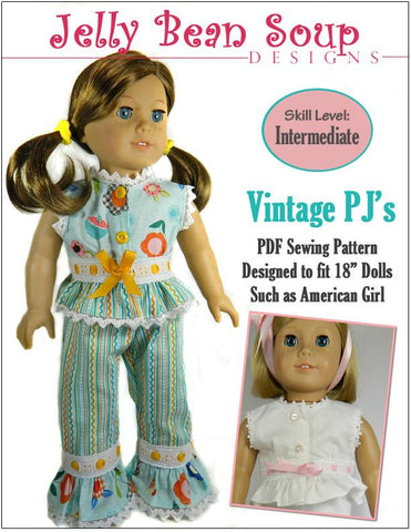 "Jelly Bean Soup Designs 18 Inch Modern Vintage PJ's 18"" Doll Clothes Pattern Pixie Faire"