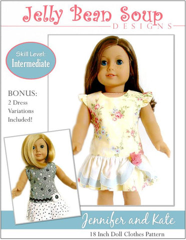 "Jennifer and Kate 18"" Doll Clothes Pattern"