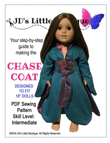 "JD's Little Boutique 18 Inch Modern Chase Coat 18"" Doll Clothes Pattern Pixie Faire"