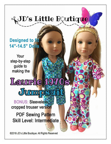"Laurie 1970s Jumpsuit 14"" - 14.5"" Doll Clothes Pattern"