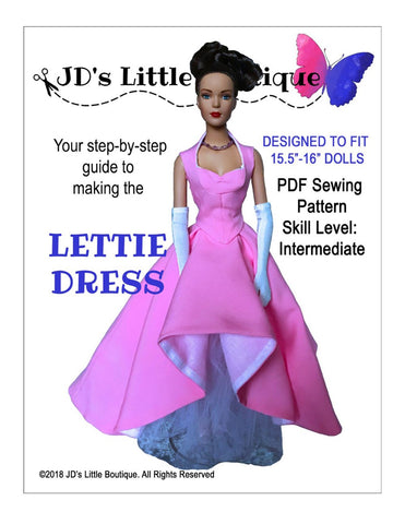 "Lettie Dress 15.5"" - 16"" Fashion Doll Clothes Pattern"