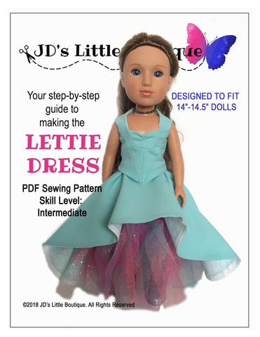 "Lettie Dress 14"" - 14.5"" Doll Clothes Pattern"