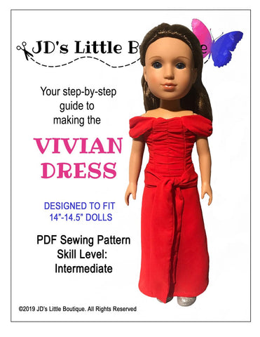 "Vivian Dress 14"" - 14.5"" Doll Clothes Pattern"