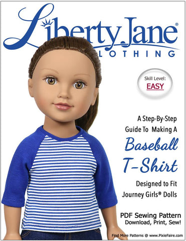 Liberty Jane Baseball Tee 18 Inch Doll Clothes Pattern for Journey Girls