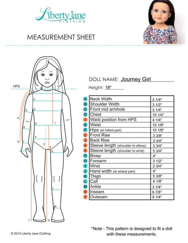 Journey Girls Doll Measurement Chart