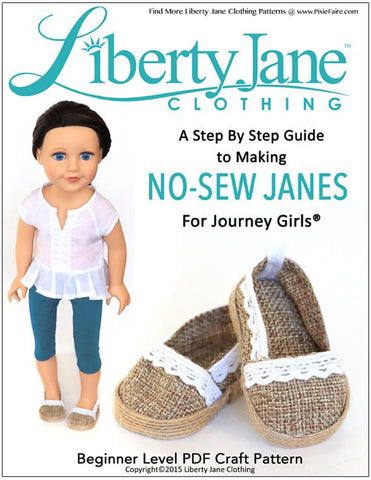 Liberty Jane Journey Girl No Sew JANES Shoe Pattern for Journey Girls Dolls Pixie Faire