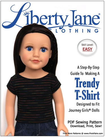 Liberty Jane Journey Girl FREE T-Shirt Pattern For Journey Girls Dolls Pixie Faire