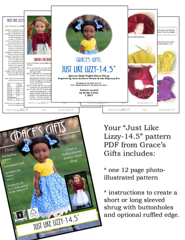 "Grace's Gifts WellieWishers Just Like Lizzy Knitting Pattern for 14.5"" Dolls Pixie Faire"