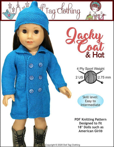 "Jacky Coat and Hat Knitting Pattern for 18"" Dolls"