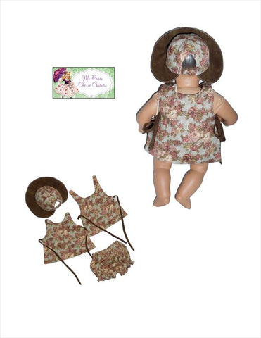 pdf doll clothes sewing pattern Janine sun dress hat panties designed to fit 15 inch bitty baby dolls
