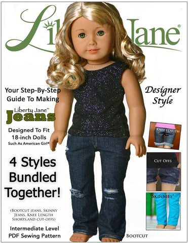 "Liberty Jane 18 Inch Modern Jeans Bundle 18"" Doll Clothes Pattern Pixie Faire"