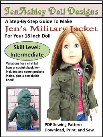 "Jen's Military Jacket 18"" Doll Clothes Pattern"