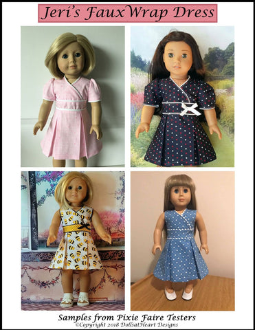 "Jeri's Faux Wrap Dress 18"" Doll Clothes Pattern"