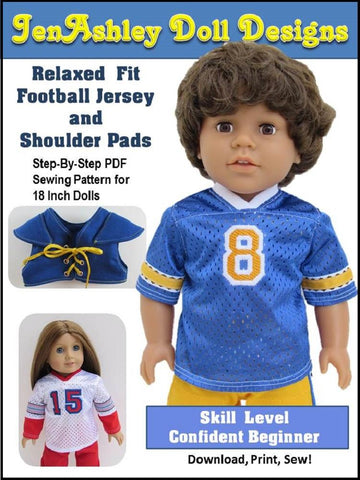 "Jen Ashley Doll Designs 18 Inch Modern Relaxed Fit Football Jersey and Shoulder Pads 18"" Doll Clothes Pixie Faire"