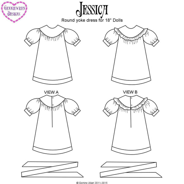 Genniewren Designs Jessica Round Yoke Dress Doll Clothes