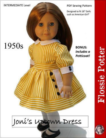 "Joni's Uptown Dress 18"" Doll Clothes Pattern"