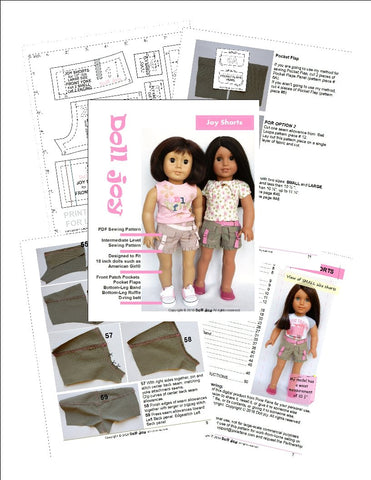 PDF Doll Clothes Sewing Pattern Shorts designed to fit 18 inch American Girl dolls