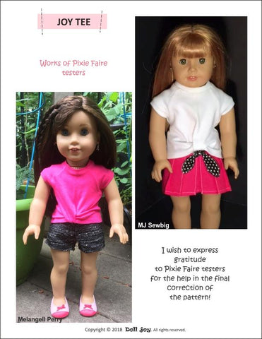 pdf doll clothes sewing pattern classic raglan sleeve tee shirt designed to fit 18 inch American Girl Dolls Doll Joy Joy Tee