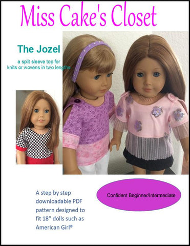 "Miss Cake's Closet 18 Inch Modern Jozel Split Sleeve Top 18"" Doll Clothes Pattern Pixie Faire"