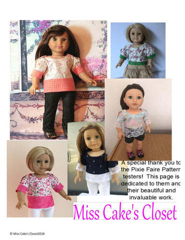 PDF sewing pattern split sleeve tunic designed to fit 18 inch American Girl dolls