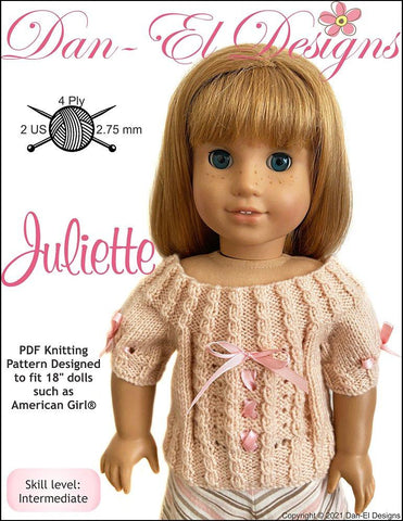 "Dan-El Designs Knitting Juliette 18"" Doll Knitting Pattern Pixie Faire"