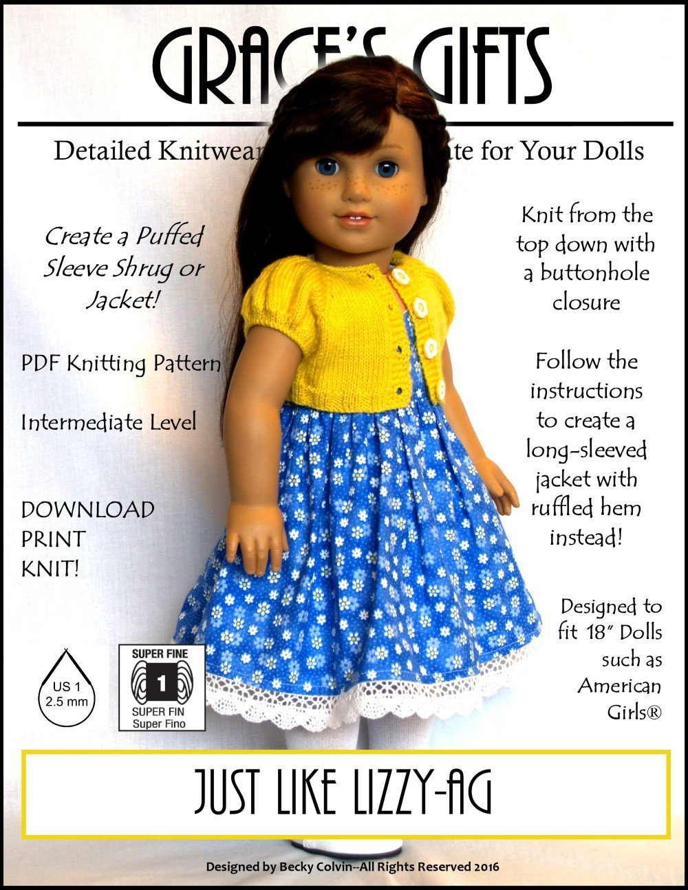 Grace's Gifts Just Like Lizzy Doll Clothes Pattern 18 Inch