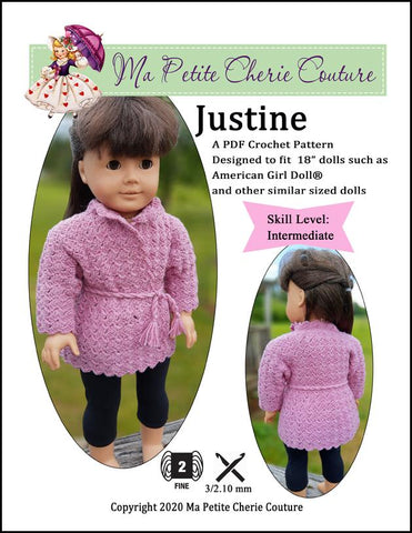 "Justine Coat 18"" Doll Clothes Crochet Pattern"