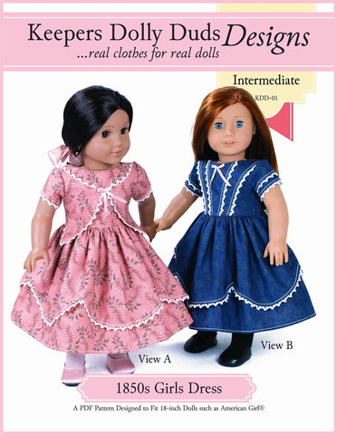 "1850's Girls Dress 18"" Doll Clothes Pattern"