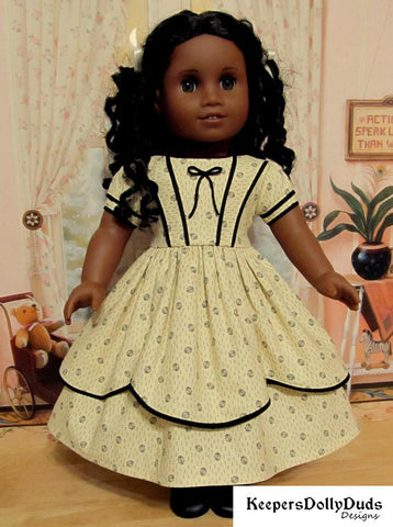 PDF doll clothes sewing pattern Keepers Dolly Duds 1850s Girls Dress designed to fit 18 inch American Girl dolls