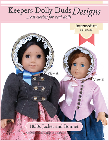 "Keepers Dolly Duds Designs 18 Inch Historical 1850s Girls Jacket and Bonnet Ensemble 18"" Doll Clothes Pattern Pixie Faire"