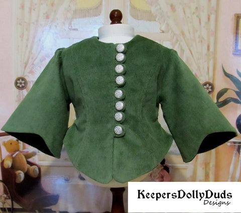 Keepers Dolly Duds 1850s Day Dress and Bonnet PDF doll clothes sewing pattern designed to fit 18 inch American Girl dolls