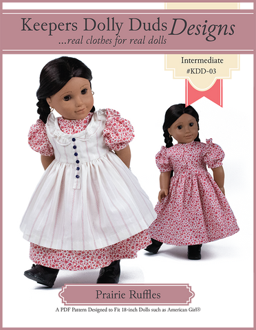 "Keepers Dolly Duds Designs 18 Inch Historical Prairie Ruffles Dress 18"" Doll Clothes Pattern Pixie Faire"