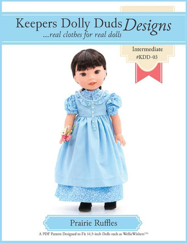 "Keepers Dolly Duds Pixie Faire WellieWishers Prairie Ruffles Dress 14.5"" Doll Clothes Pattern Pixie Faire"