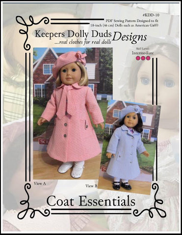 "Keepers Dolly Duds Designs 18 Inch Historical Coat Essentials 18"" Doll Clothes Pattern Pixie Faire"