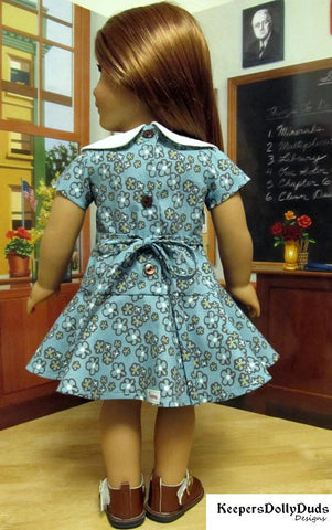 "Sweet 70s Dress 18"" Doll Clothes Pattern"
