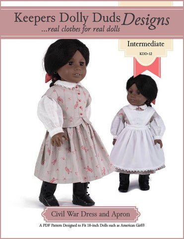 "Civil War Dress and Apron 18"" Doll Clothes Pattern"