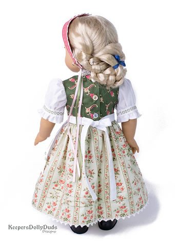 "Spring Dirndl 18"" Doll Clothes Pattern"