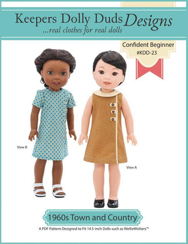 "1960s Town and Country Dress 14.5"" Doll Clothes Pattern"