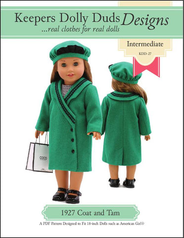 "1927 Coat and Tam 18"" Doll Clothes Pattern"