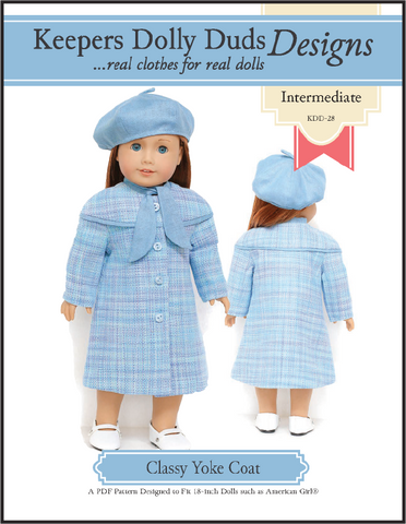 "Keepers Dolly Duds Designs 18 Inch Historical Classy Yoke Coat and Tam 18"" Doll Clothes Pattern Pixie Faire"