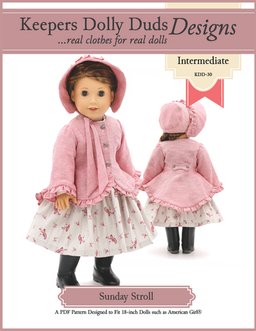 "Keepers Dolly Duds Designs 18 Inch Historical Sunday Stroll 18"" Doll Clothes Pattern Pixie Faire"