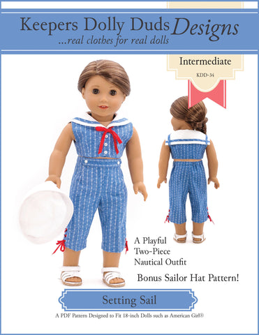 "Keepers Dolly Duds Designs 18 Inch Historical Setting Sail 18"" Doll Clothes Pattern Pixie Faire"
