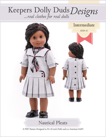 "Nautical Pleats 18"" Doll Clothes Pattern"