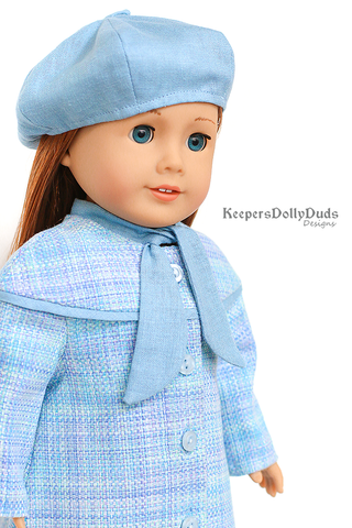 "Classy Yoke Coat and Tam 18"" Doll Clothes Pattern"
