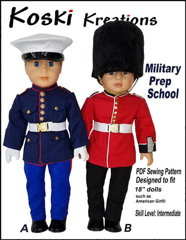 "Koski Kreations 18 Inch Modern Military Prep School Uniform 18"" Doll Clothes Pattern Pixie Faire"