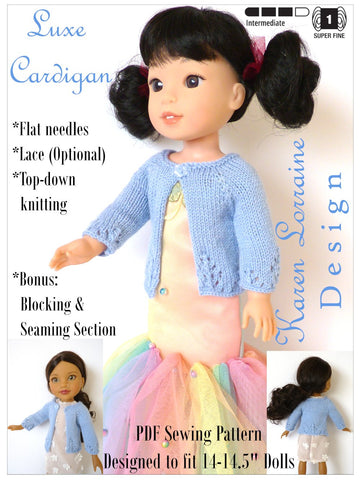 Karen Lorraine Design WellieWishers Luxe Cardigan 14-14.5 Inch Doll Clothes Knitting Pattern Pixie Faire