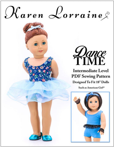 "Karen Lorraine Design 18 Inch Modern Dance Time 18"" Doll Clothes Pattern Pixie Faire"